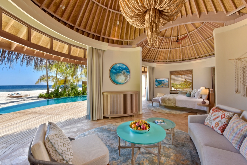 The Nautilus Maldives beach house interior from living room r1920